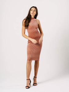Rose High Neck Ribbed Bodycon Midi Dress