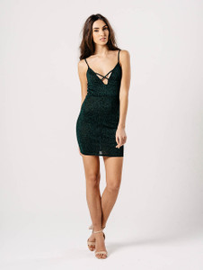 Green Glitter Strappy Mini Dress