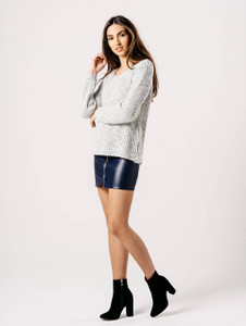 Grey Distressed Back Full Sleeve Knitted Jumper