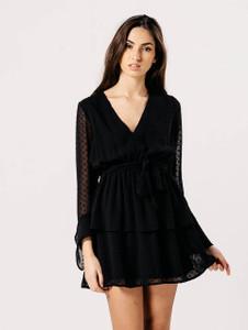 Black Sheer Bell Sleeve Tier Skirt Tie Dress