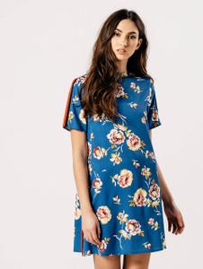 Blue Floral Sport Striped Shift Dress
