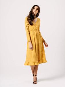Mustard Polka Dot Ruffle Back Wrap Midi Dress