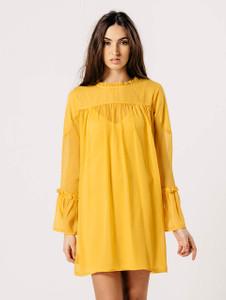 Mustard Flare Sleeve Dobby Print Shift Dress