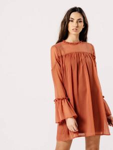 Rose Pink Flare Sleeve Dobby Print Shift Dress