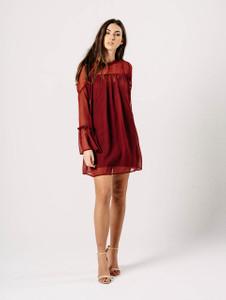 Burgundy Flare Sleeve Dobby Print Shift Dress