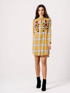 Mustard Check Embroidered Shirt Dress