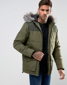 Green Quilted Puffa Jacket With Hood