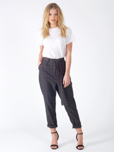 Black Check Cigarette Trousers With D Ring Belt