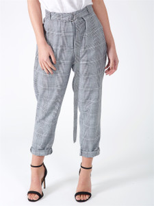 Grey Check Cigarette Trousers With D Ring Belt