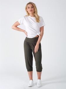 Khaki Drop Crotch Cropped Length Harem Trousers