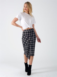 Black Check Wrap Over Midi Skirt