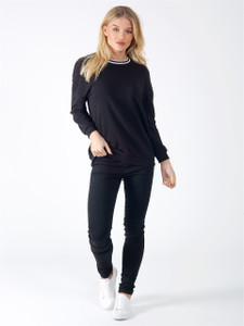 Black Sports Luxe Stripe Jumper