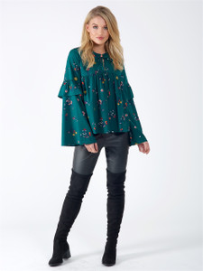Green Floral High Neck Flute Sleeve Top