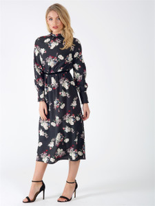 Black Floral Long Sleeve Midi Dress