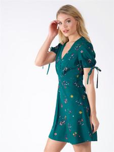Green Floral Tie Sleeve Tea Dress