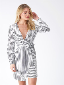 Black and White Pinstripe Belted Split Dress
