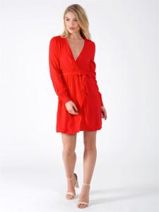 Red Tie Front Split Dress