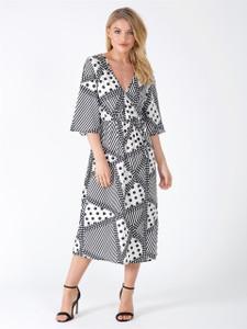 Black and White Tie Waist Wrap Maxi Dress