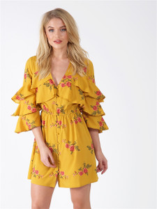 Mustard Floral Tier Sleeve Button Front Dress