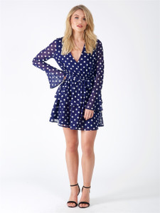 Blue Polka Dot Sheer Bell Sleeve Tier Skirt Tie Dress