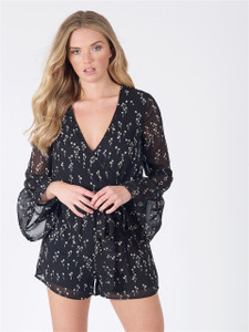 Black Floral Wrap Flare Sleeve Playsuit
