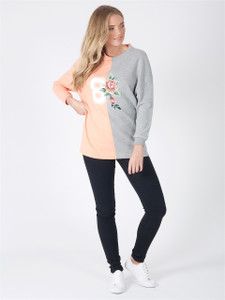 Blush Grey Colour Block Embroidered Sweat