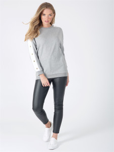 Grey Popper Sleeve Sweat