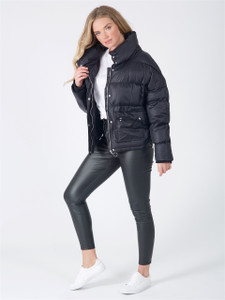 Black Puffer Coat With Oversized Patch Pocket