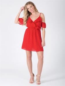 Red Polka Dot Ruffle Cold Shoulder Mini Dress