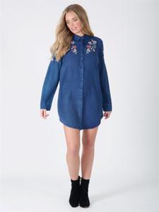 Denim Blue Embroidered Shirt Dress