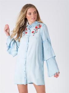 Blue Light Wash Embroidered Tier Sleeve Shirt Dress
