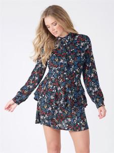Black Floral Frill Layered Shirt Dress