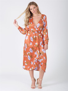 Rust Floral Wrap Front Maxi Dress