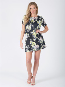 Black Floral Short Sleeve Tunic Dress
