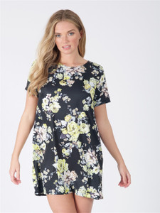 Black Floral Short Sleeve Tunic Dress