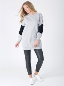 Grey Oversized Fur Sleeve Jumper