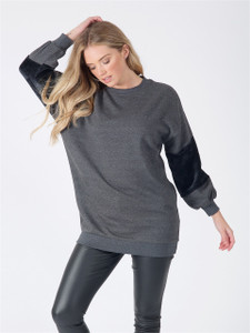 Charcoal Oversized Fur Sleeve Jumper