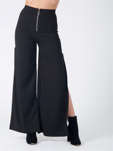 Black Side Split Wide Leg Trousers