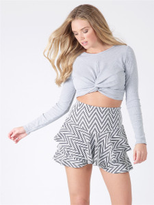 Grey Long Sleeve Knot Front Crop Top
