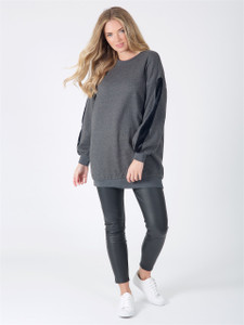 Charcoal Oversized Fur Stripe Sleeve Jumper