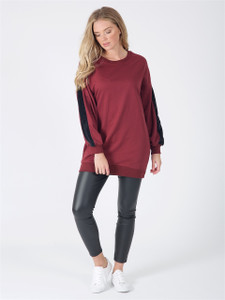 Wine Oversized Fur Stripe Sleeve Jumper