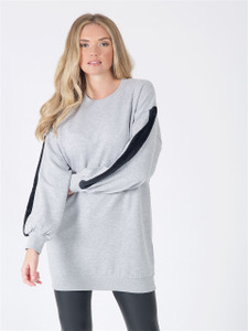 Grey Fur Stripe Sleeve Loungwear Suit Set