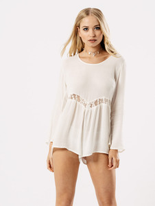 Lace Insert Tie Back Long Flared Sleeved Playsuit
