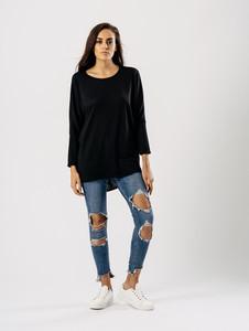 Jersey Long Sleeves Dip Hem Top in Black