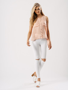 Blush Popper Front Vest With Patch Pockets