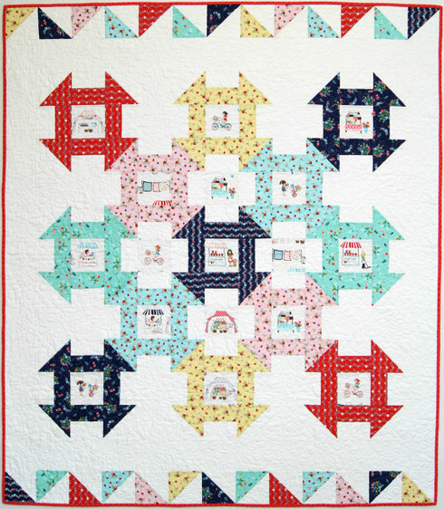 Traditional Churn Dash Blocks with a modern twist to feature Fussy Cut fabrics