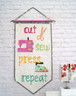Cut, Sew, Press, Repeat Pennant.  Perfect for Mini Quilt swaps.