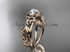 "14kt rose gold celtic trinity knot  wedding ring, engagement ring with a ""Forever One"" Moissanite center stone CT7216"