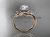 "14kt rose gold diamond floral wedding ring, engagement ring with a ""Forever One"" Moissanite center stone ADLR125"