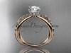 "14kt rose gold celtic trinity knot wedding ring, engagement ring with a ""Forever One"" Moissanite center stone CT7171"